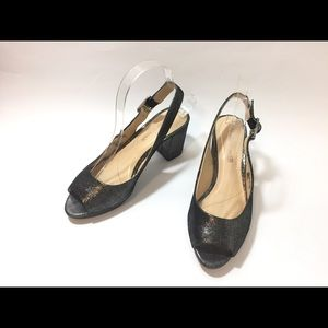Clarks Cushion Stacked Heel Slingback Sandals 7.5M